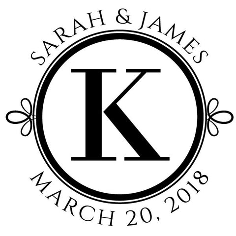 Round Initial Name and Date Wedding Custom Designer Stamp