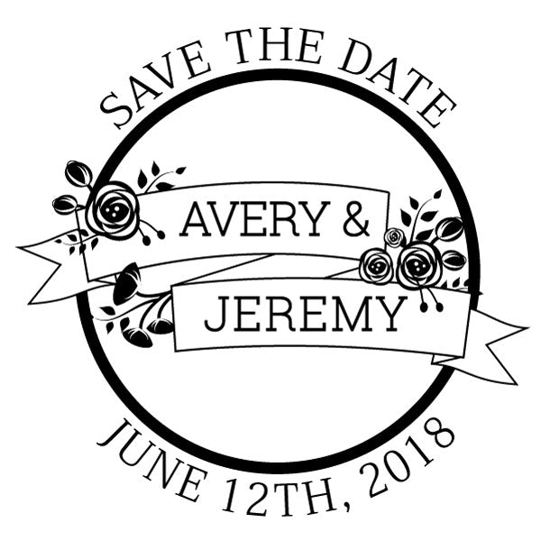 Round Save the date name and date wedding Custom Designer Stamp