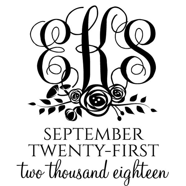 Monogram initials and date wedding Custom Designer Stamp