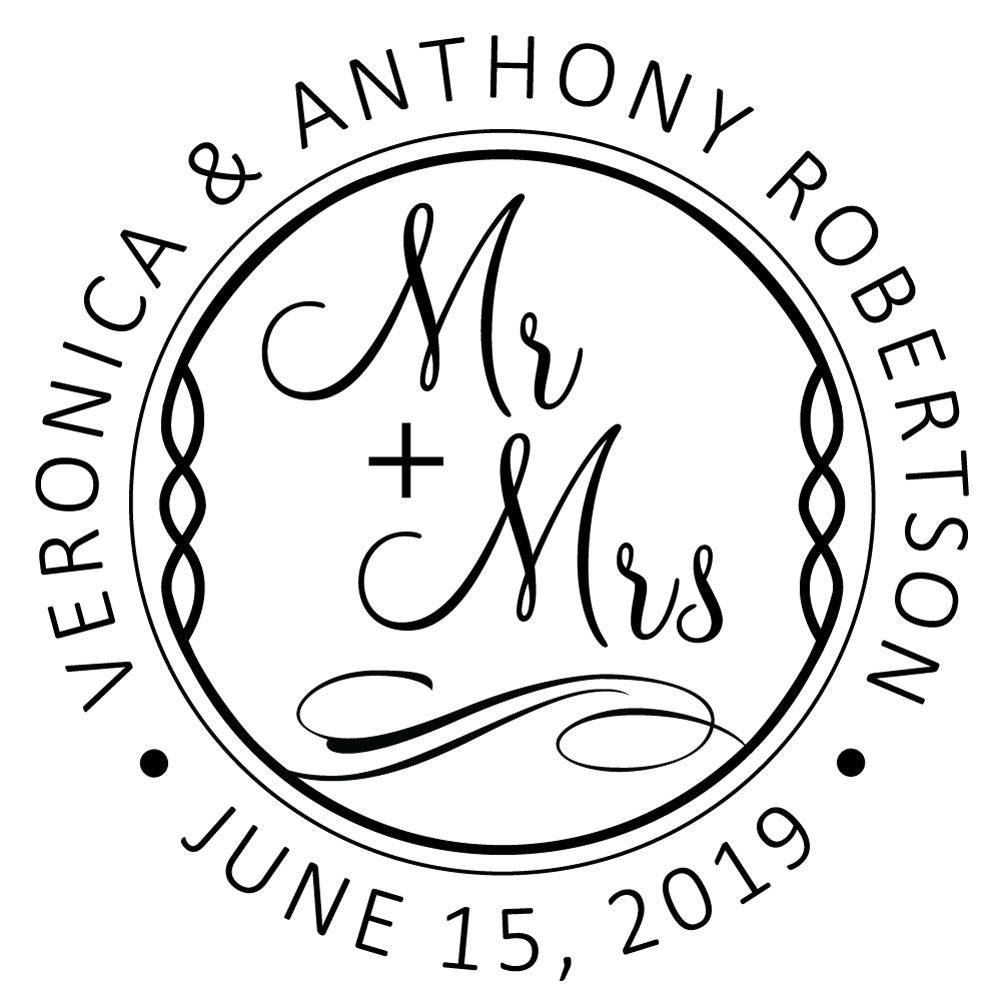 Mr & Mrs Couple Names and Date Wedding Custom Designer Stamp