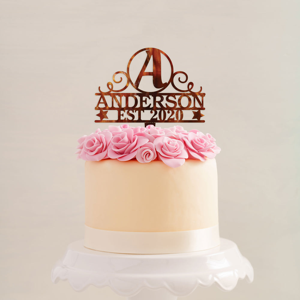 Custom Acrylic Anniversary Initials Name and Est Date names Cake Topper