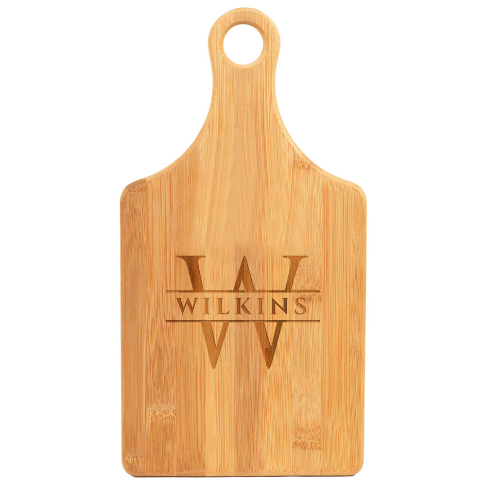 Elegant Engraved Bamboo Paddle Cutting Board