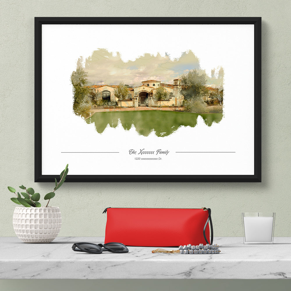 custom house portrait water color home decor