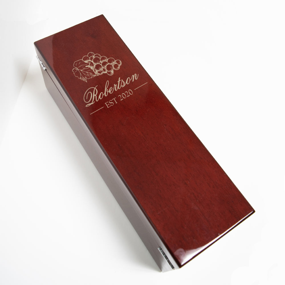 Engraved Rosewood Piano Finish Wine Box