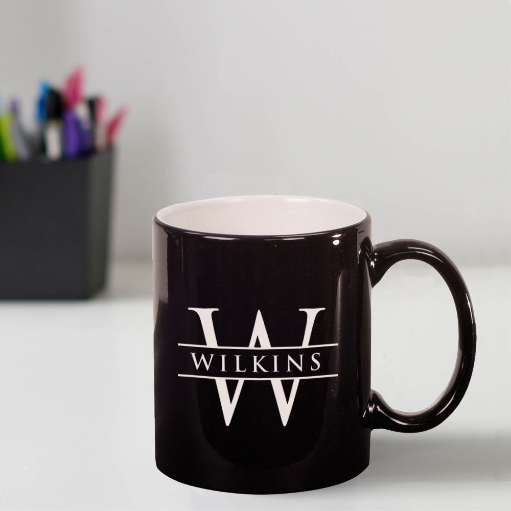 Custom Engraved 11 oz Ceramic Coffee Mug with Initial and Name