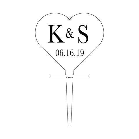 Custom Acrylic Wedding Clear Heart Shaped Initials and Date Cupcake Topper