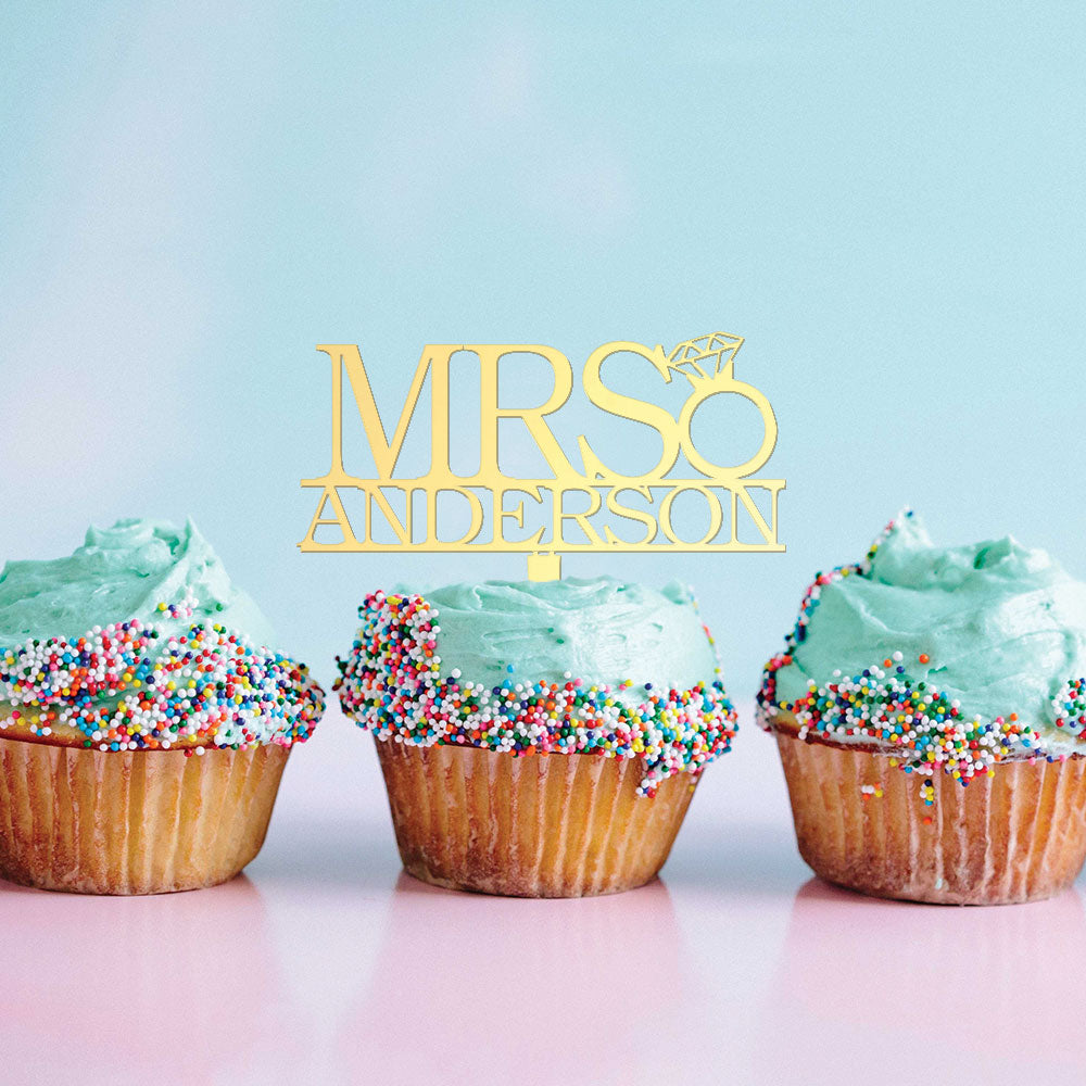 Custom Acrylic Mrs Diamond Ring Bachelorette Name Cupcake Topper