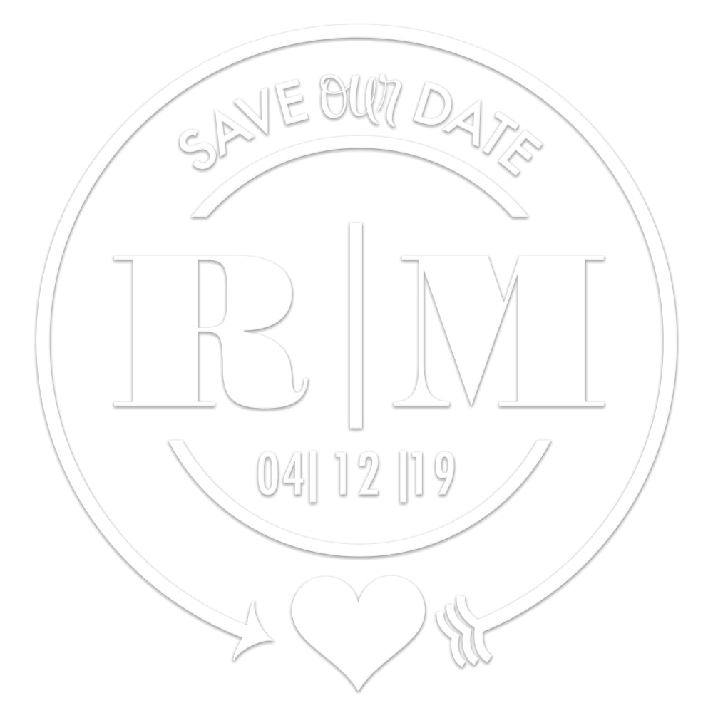 Round Wedding Save The Date Initials & Date Custom Designer Embosser