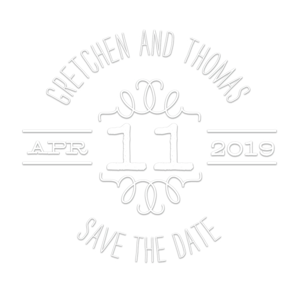 Round Wedding Save The Date names and date Custom Designer Embosser