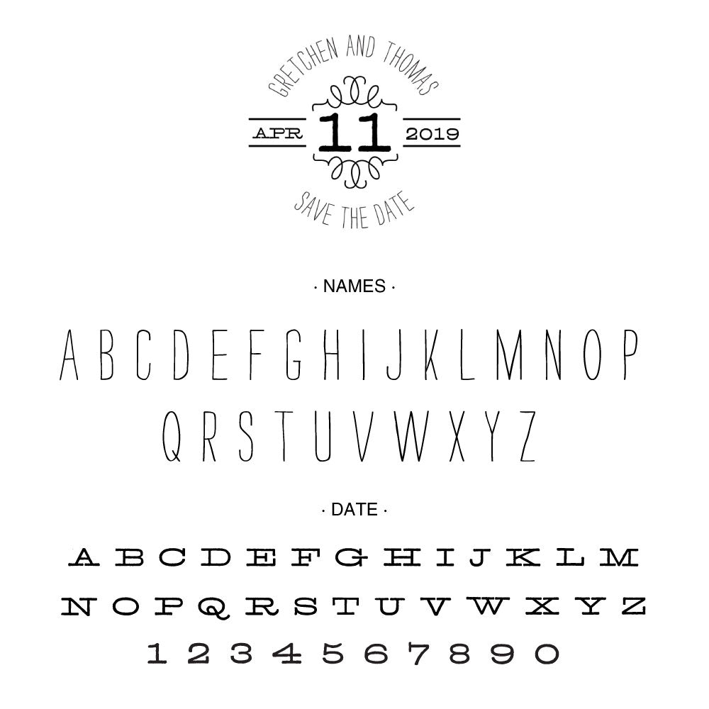 Round Wedding Save The Date names and date Custom Designer Embosser alphabet