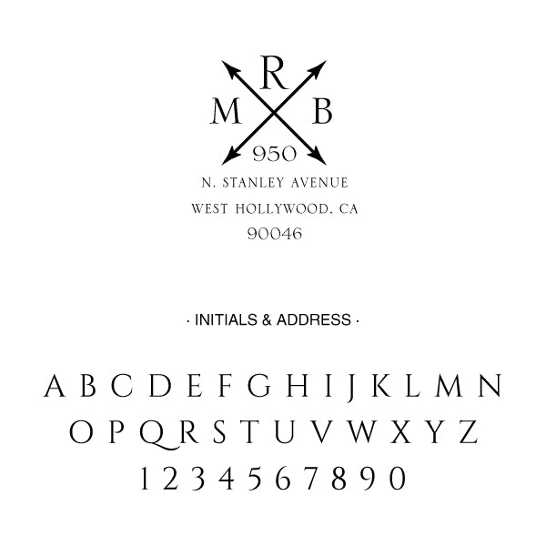 Cross Arrow Return Address Three Letter Monogram Custom Designer Embosser