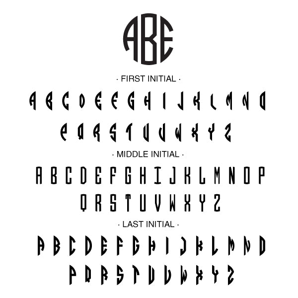 Round Three Initial Monogram Custom Designer Embosser Alphabet and Font Used
