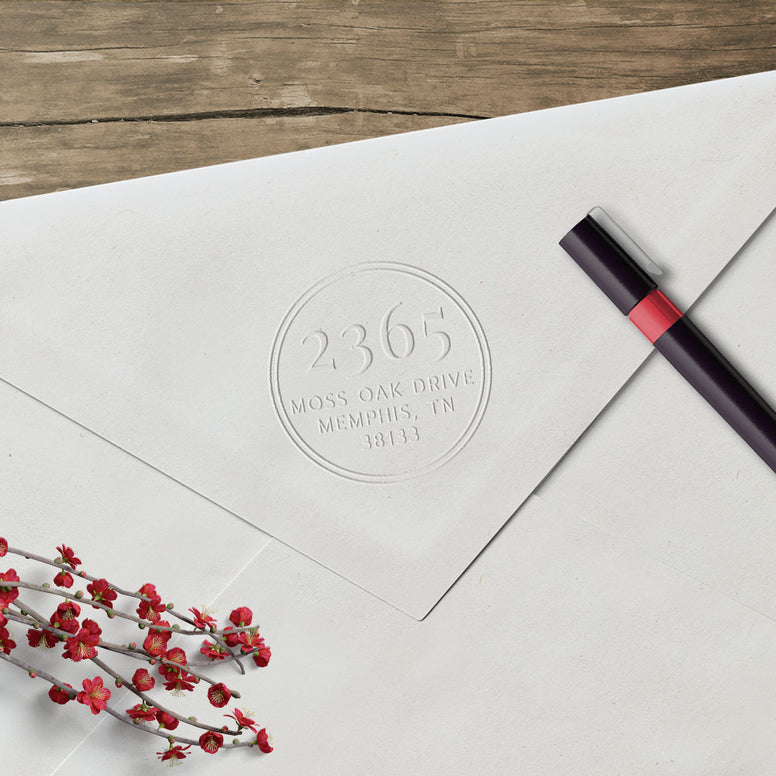 Round Return Address Custom Designer Embosser