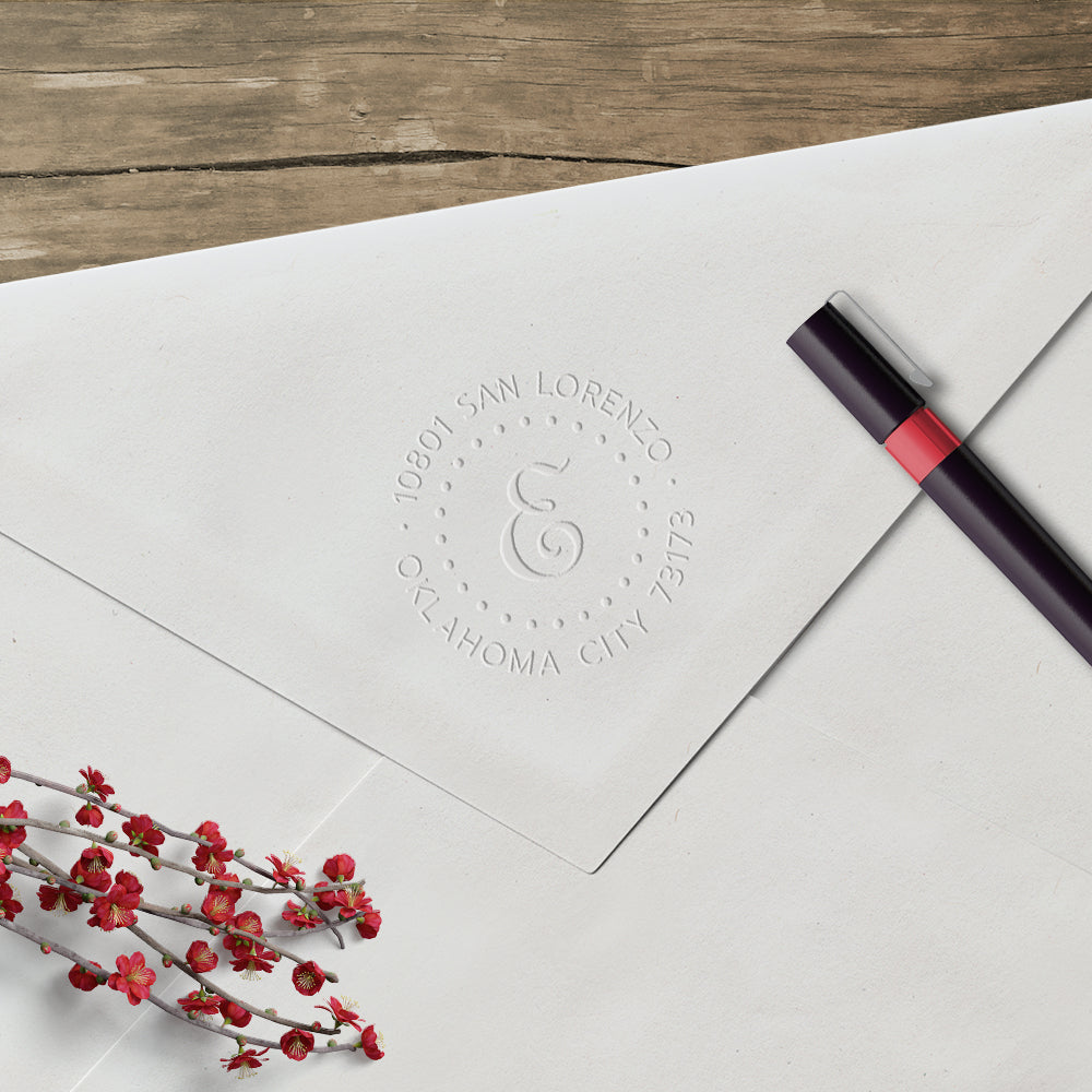Round Initial dots return address custom embosser