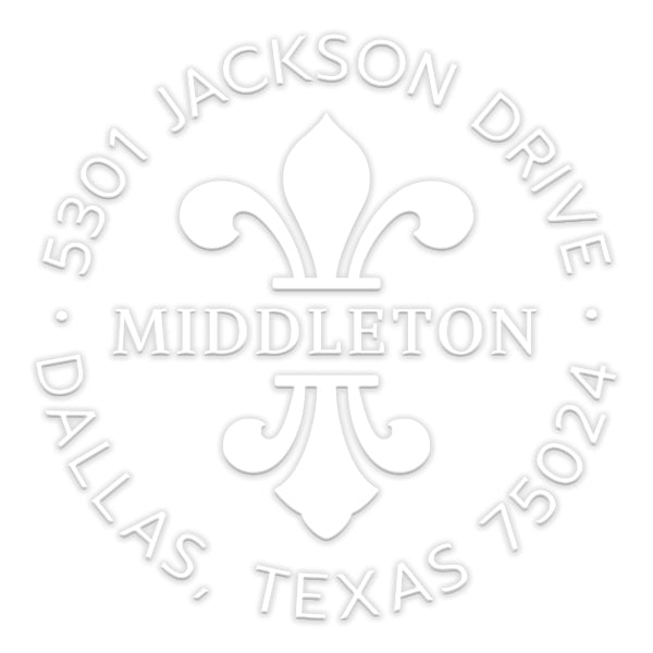 Round Fleur De Lis Return Address Last Name Custom Designer Embosser