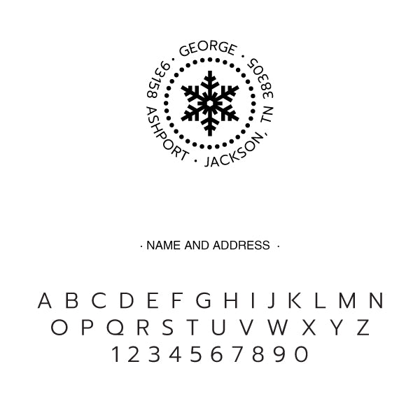 Round Snowflake Return Address Custom Designer Embosser