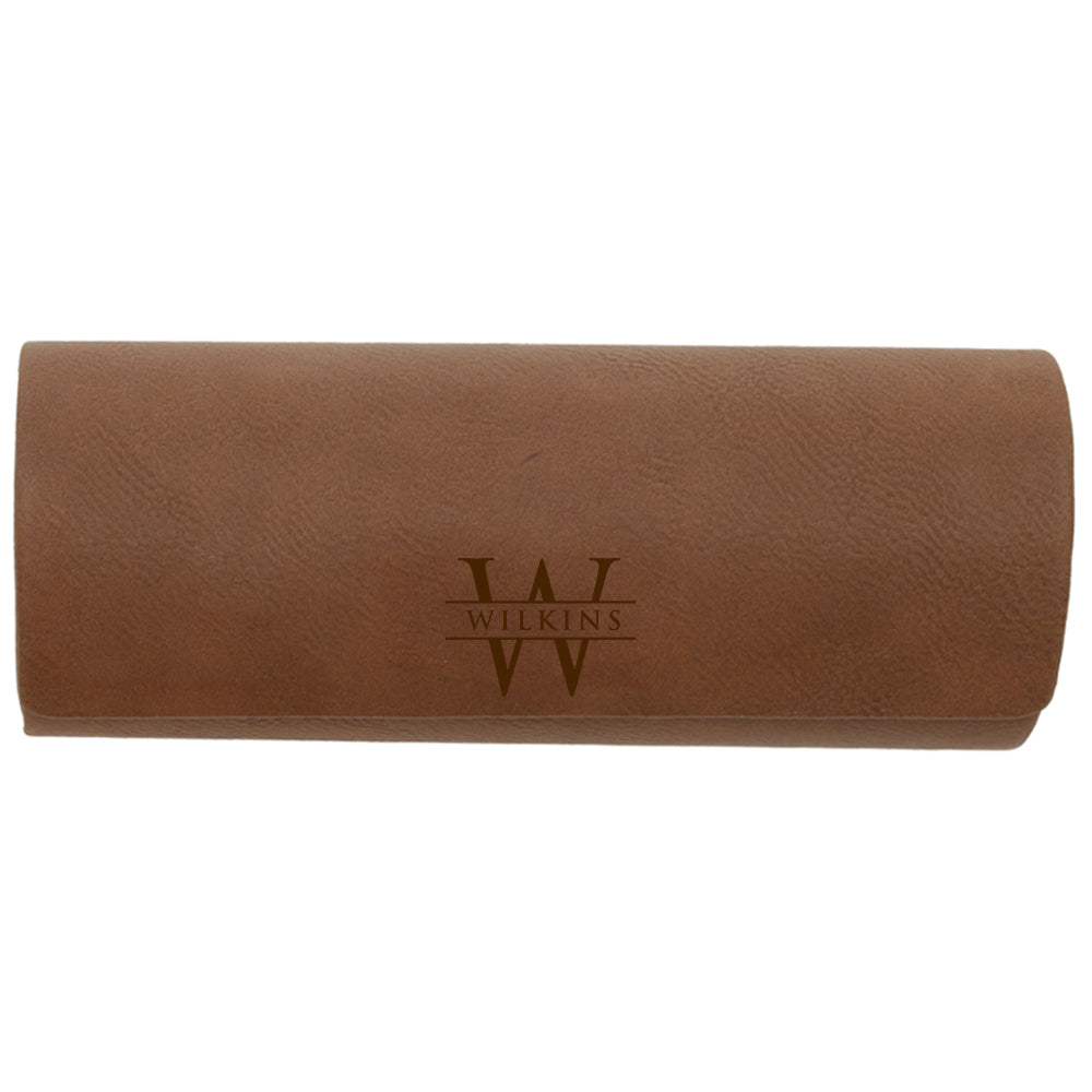 custom engraved vegan leather eyeglasses case with magnetic closure and personalized with name and initial