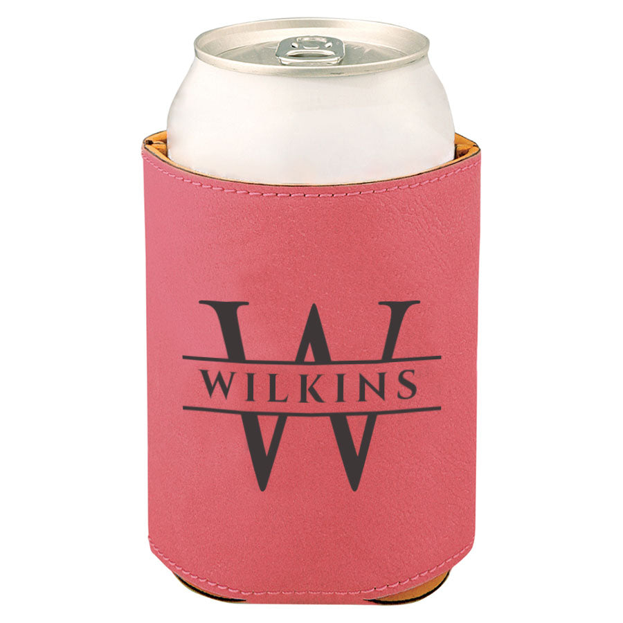 Custom Engraved Leather Beverage Sleeve with Last Name and Initial