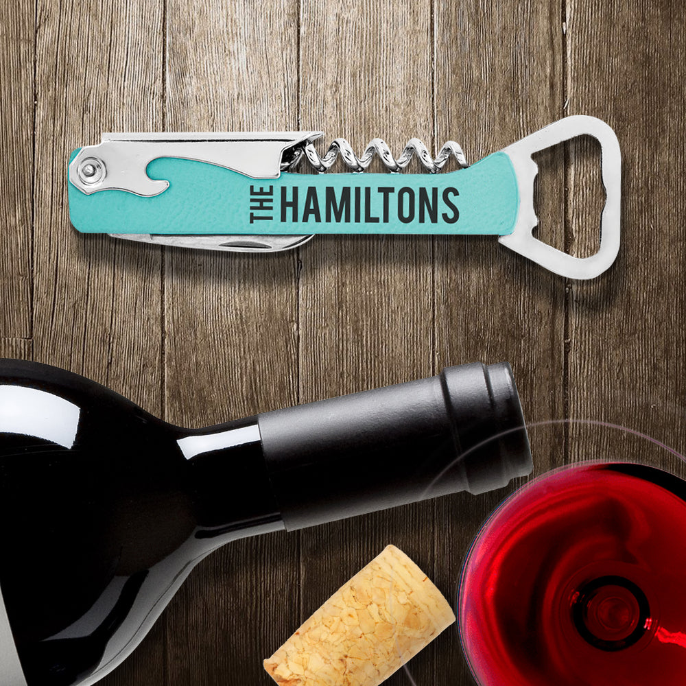 Custom Engraved Vegan Leather and Stainless Steel Wine & Bottle Opener with Name