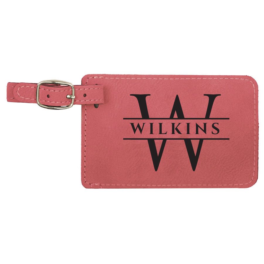 set of two engraved vegan leather luggage tags customized with our exquisite classic design