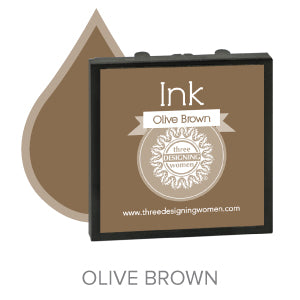 Olive Brown Replaceable Stamper Ink Pad Good for Over 1000 Impressions