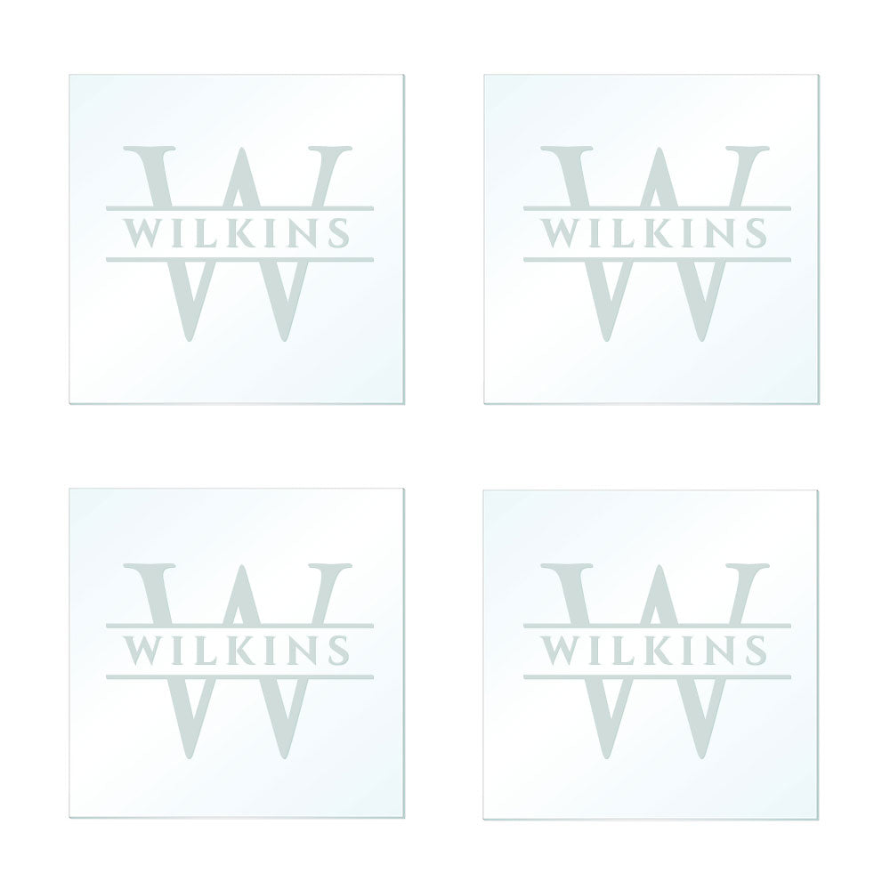 Frosted Engraved Custom Coaster Set of Four