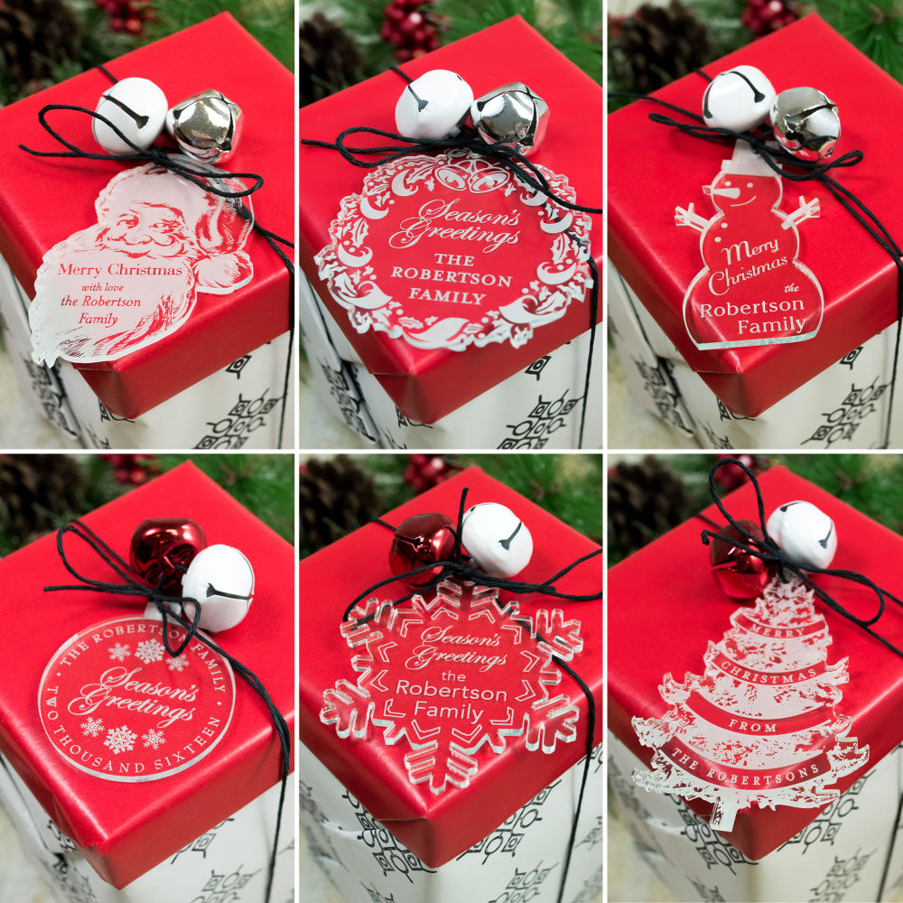 Set of Six Holiday Gift Tag Ornaments