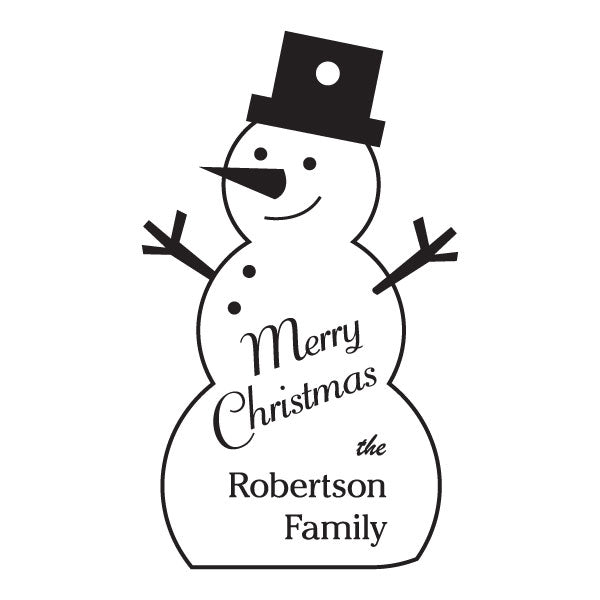 Custom Acrylic Holiday Merry Christmas Snowman Gift Tag Ornament Family Name