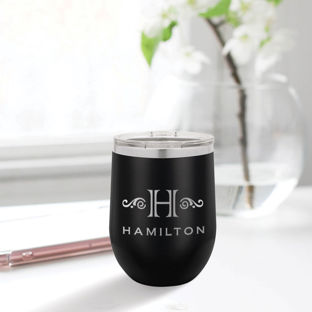 custom engraved stainless steel 12 oz tumbler black with clear lid