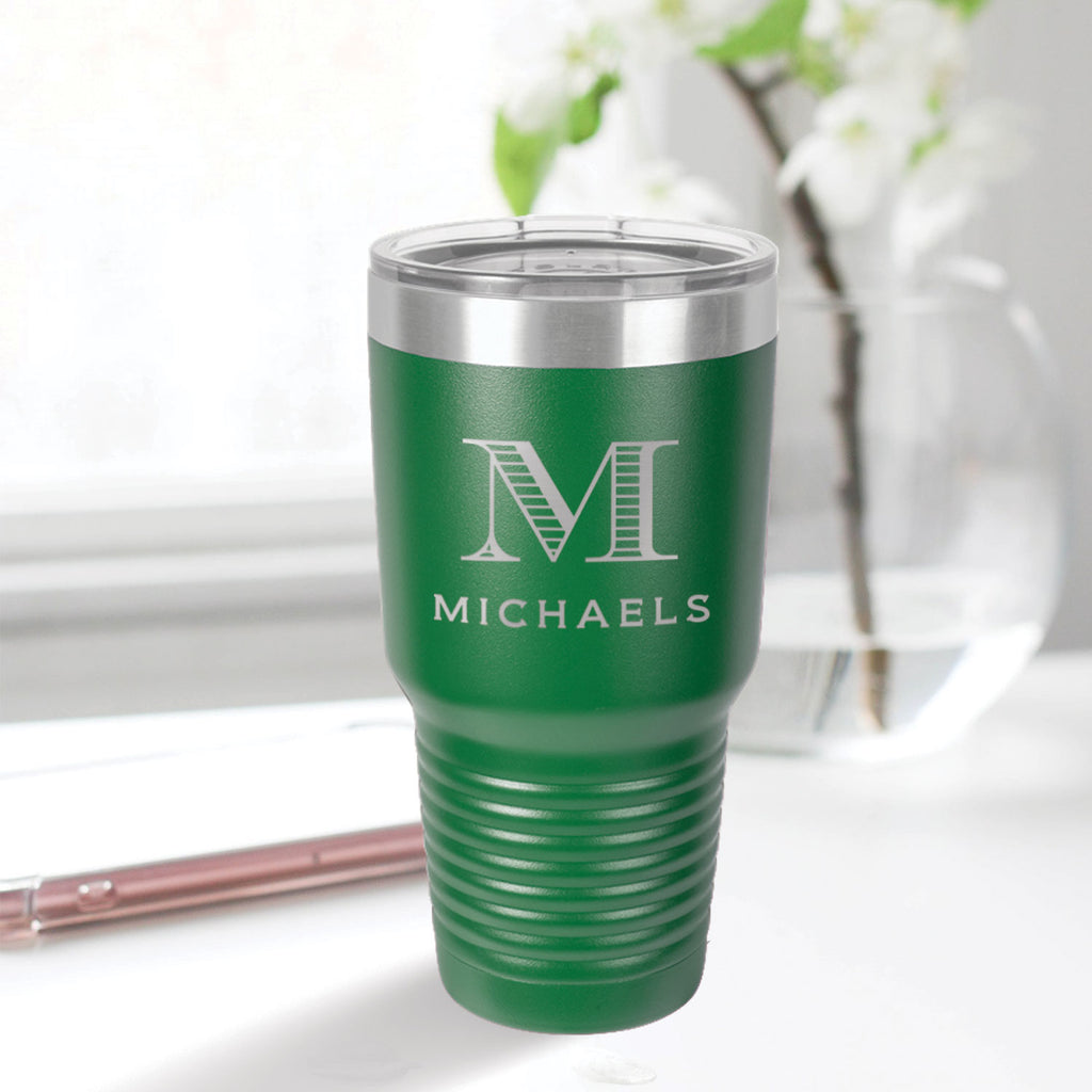 custom engraved 30 oz. tumbler drinkware best sellers green with clear lid