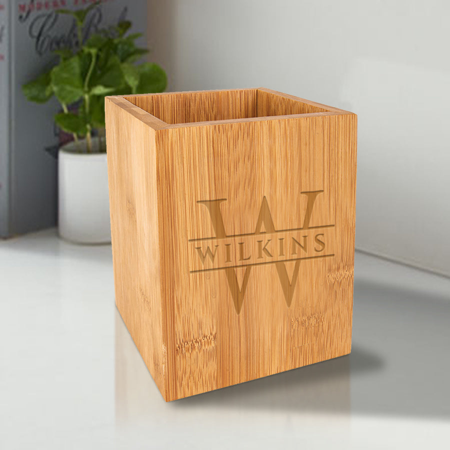 Custom Engraved Bamboo Utensil Holder