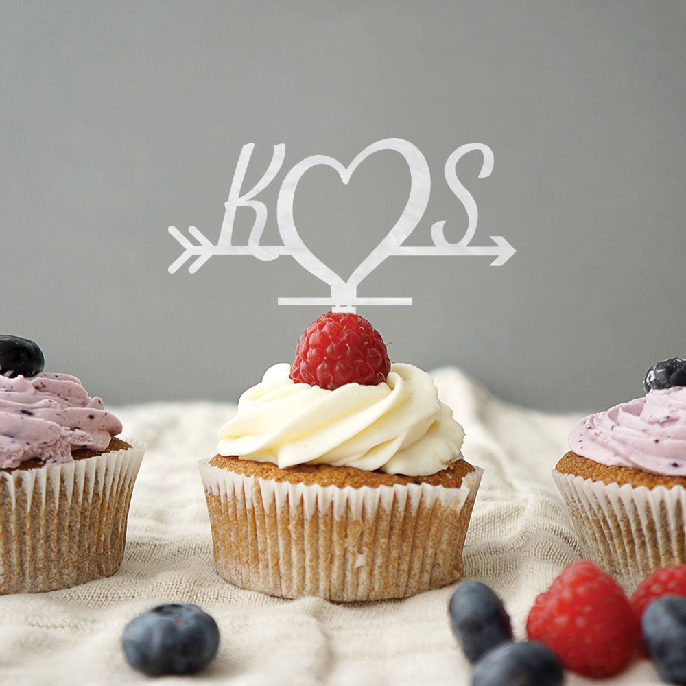 Custom Acrylic Wedding Initials Heart Cupcake Topper