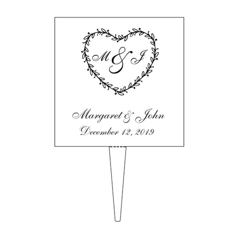 Custom Acrylic Wedding Ornate Heart Initials, Date and Names Cake Topper