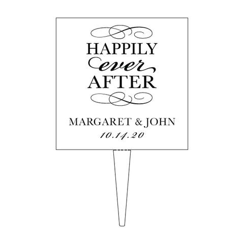 Custom Acrylic Wedding Clear Happily Ever After names and date Cake Topper