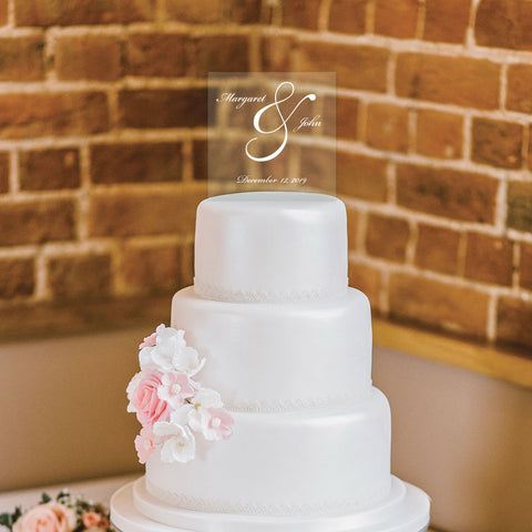 Custom Acrylic Wedding Script clear names and date Cake Topper