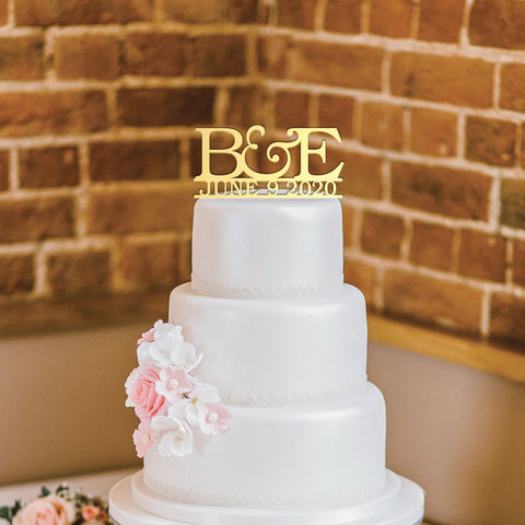 Custom Acrylic Wedding Initials and Date Cake Topper