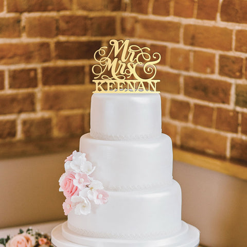 Custom Acrylic Wedding Script mr & mrs last name Cake Topper