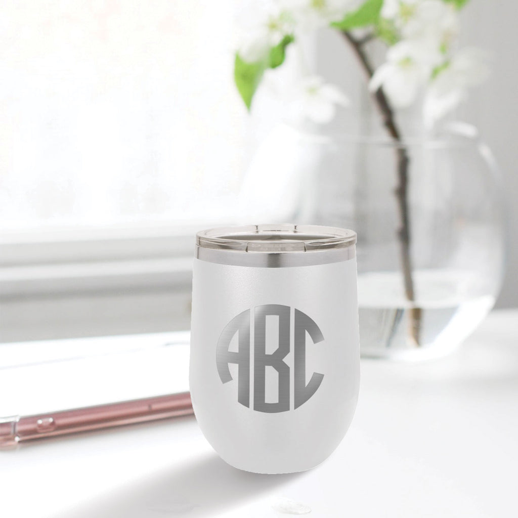 custom engraved stainless steel 12 oz tumbler white with clear lid