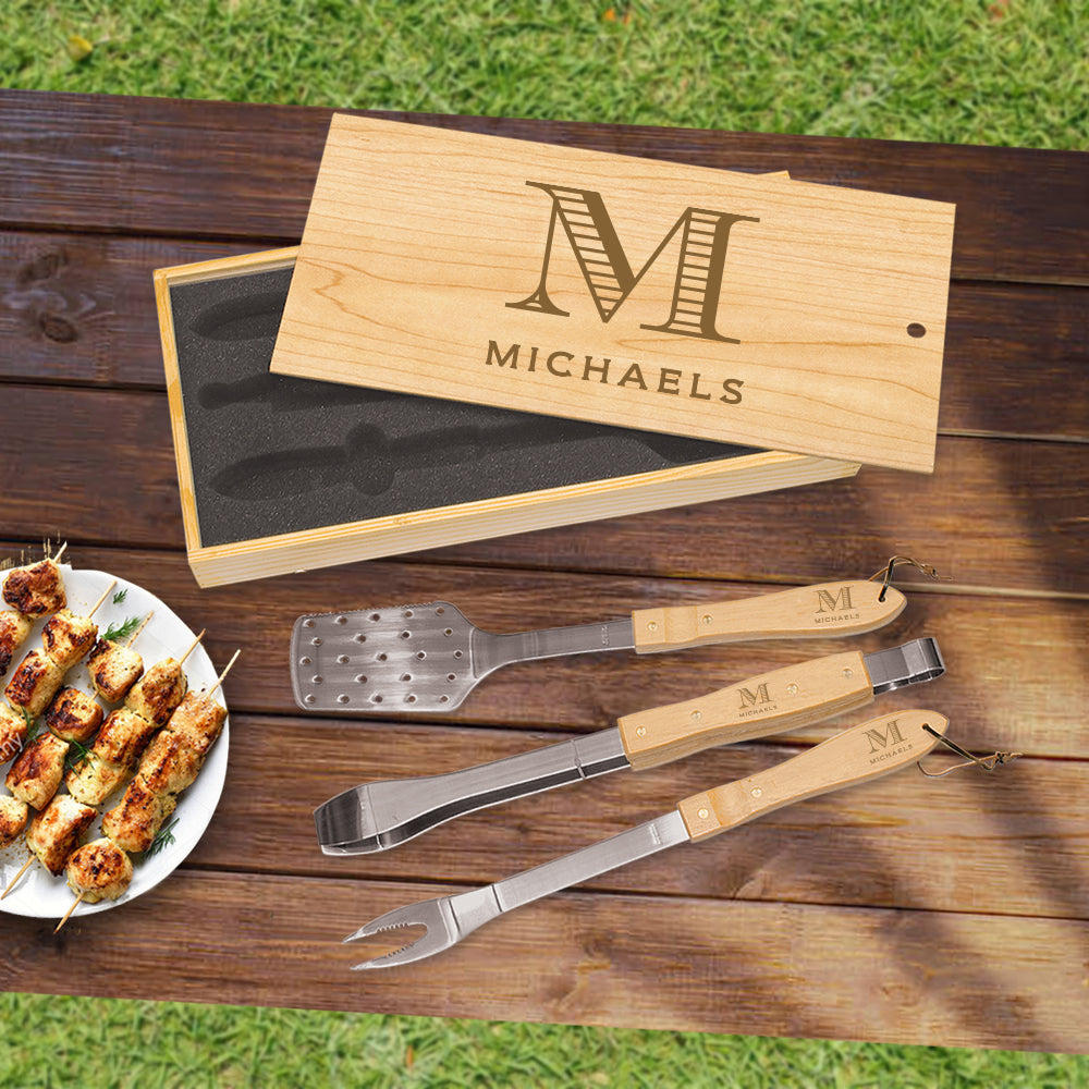 Custom Engraved Wooden Grill Set