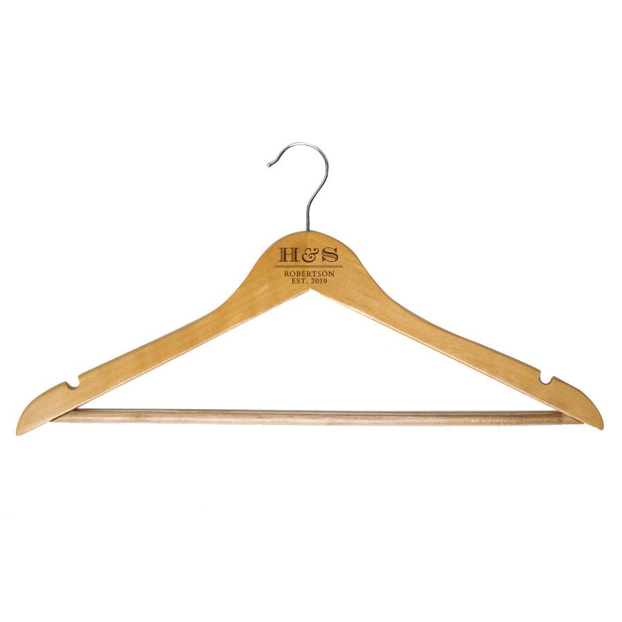 custom engraved couples wooden hangers with name initials and date