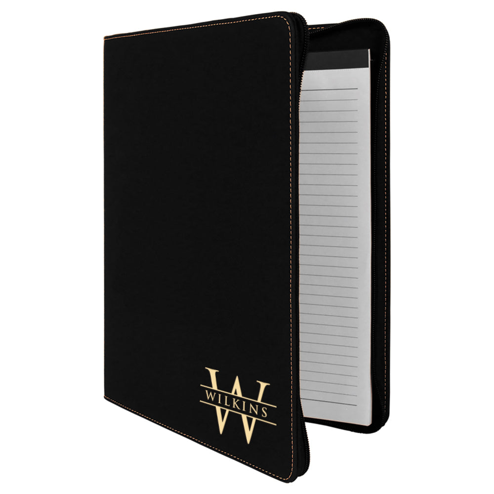 Premium Custom Engraved Zippered Portfolio