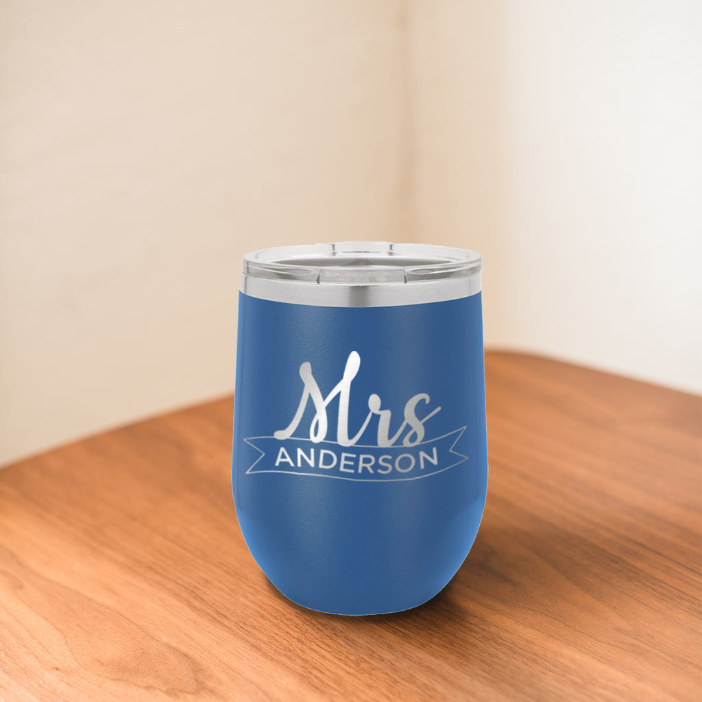 Custom Mrs Ribbon Engraved 12 oz Tumbler