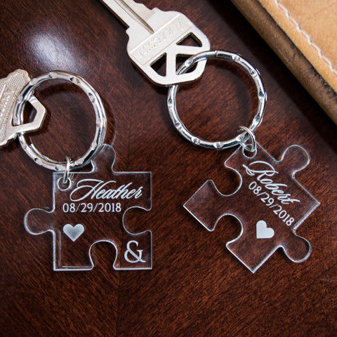 custom acrylic couples puzzle piece key fob with names and date key fob