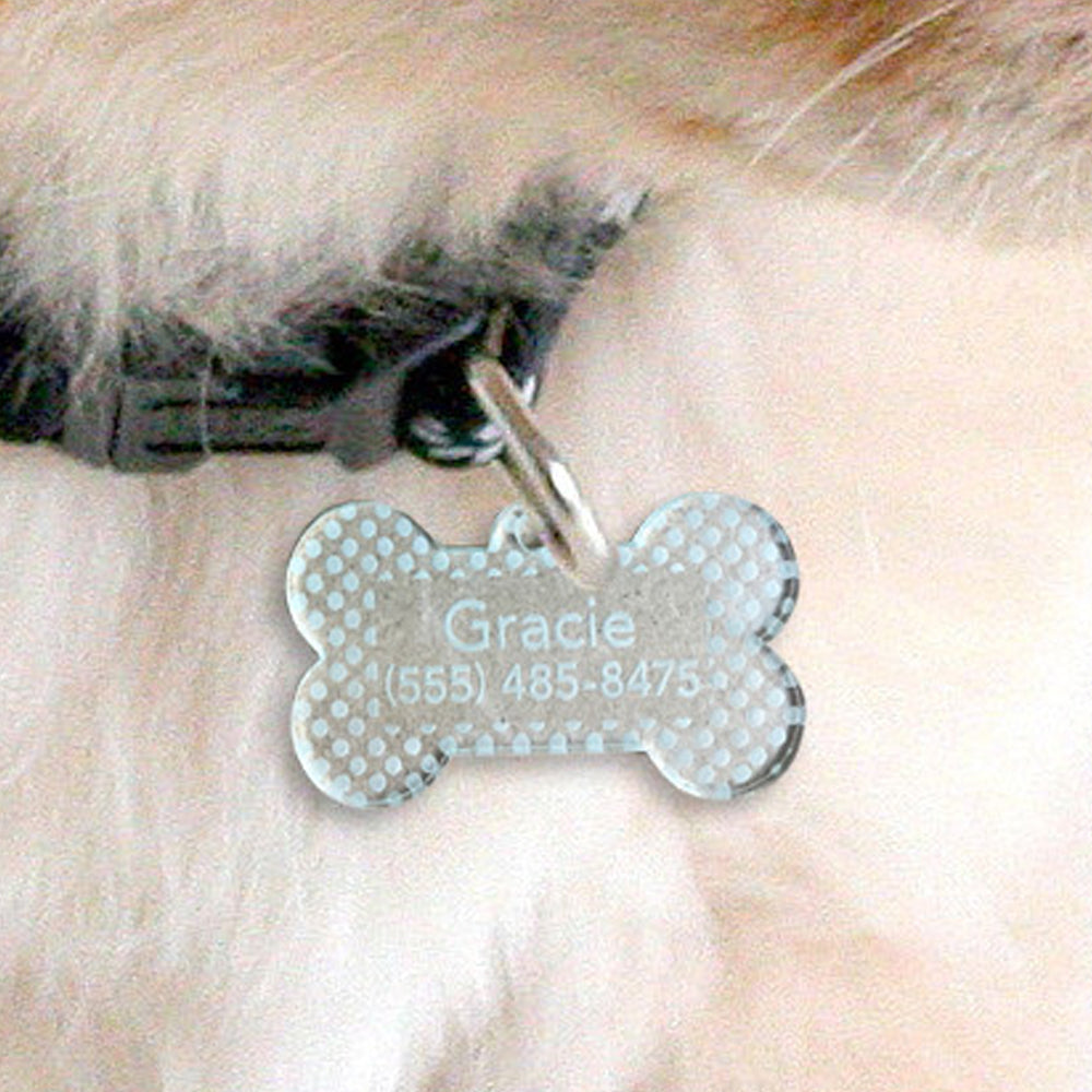 Custom acrylic bone shaped polka dot with name and number pet tag