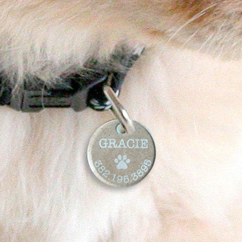 Custom acrylic round paw print with name and number pet tag