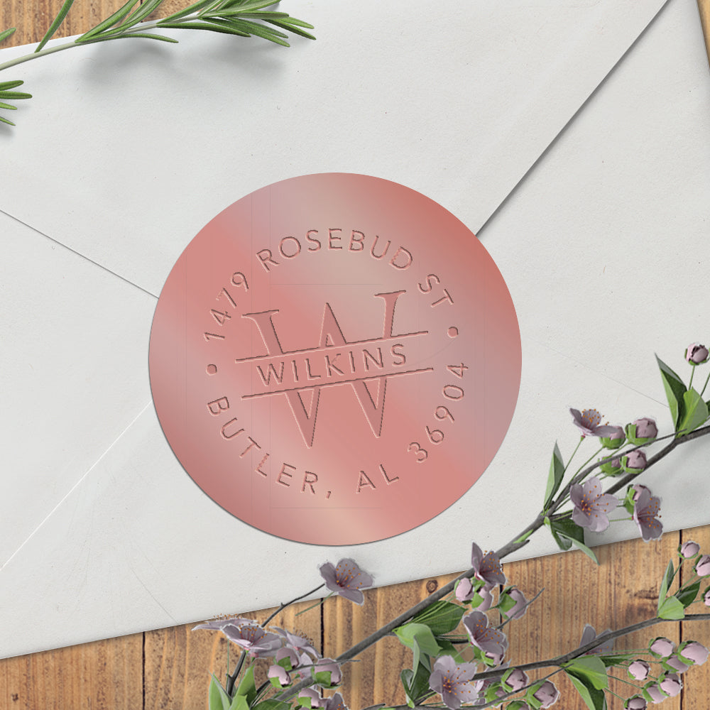 Glossy Rose Gold Embosser Foil Seal Sticker