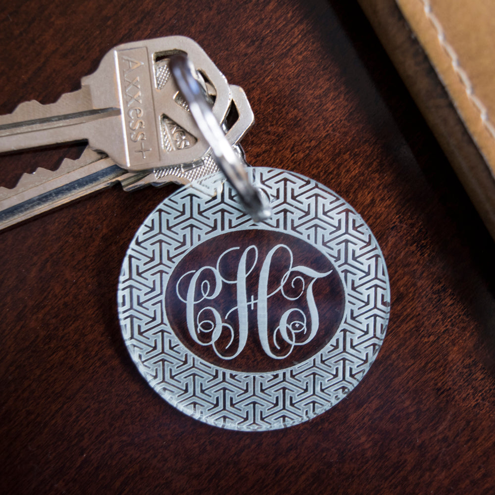 custom engraved acrylic round patterned monogram key fob with key ring