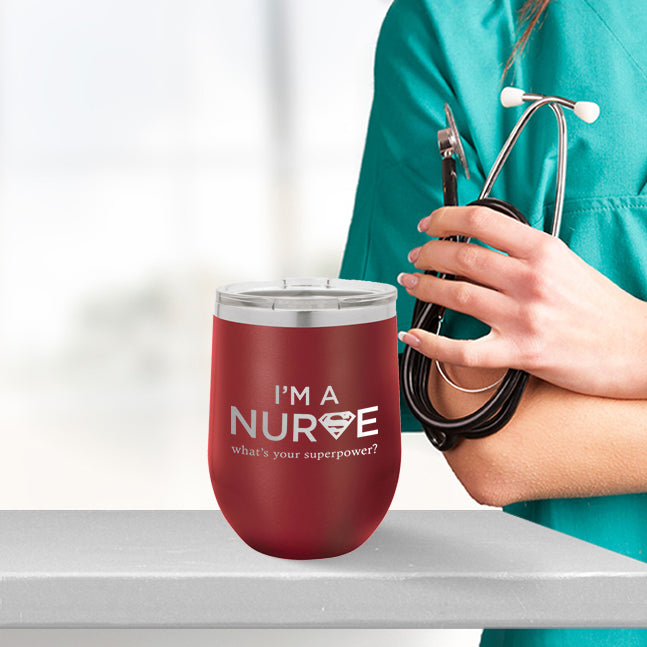 Personalized custom engraved stainless steel 12 oz tumbler with lid I'm a nurse what's your superpower design with optional initial engraving on back