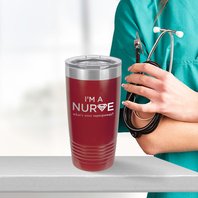 Personalized custom engraved stainless steel 20 oz tumbler with lid I'm a nurse what's your superpower design with optional initial engraving on back