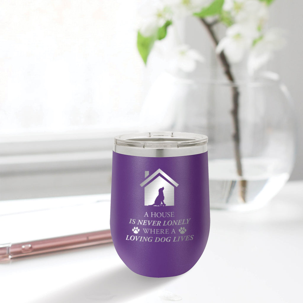 Personalized custom engraved stainless steel 12 oz tumbler with clear lid a house is never lonely where a loving dog lives design with optional initial engraving on back and optional sliding lid purple